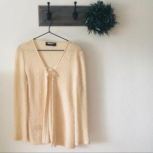 St. John Couture Cream Tie Front Cardigan